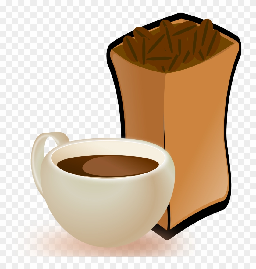 Cup Of Coffee With Sack Of Coffee Beans - Coffee Beans Clip Art #194773