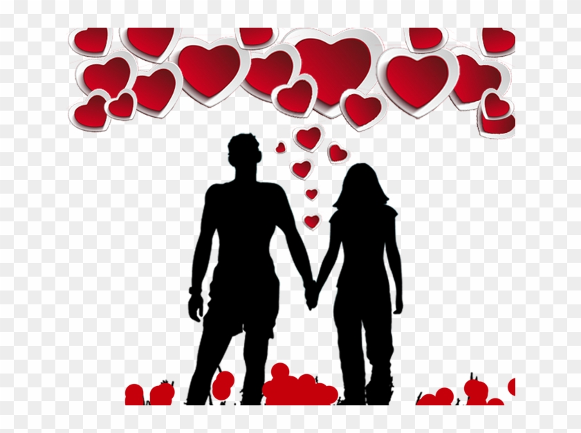 Valentines Day Silhouette Solo Poster - Beddinginn Silhouette Of A Couple Holding Hands Print #194932