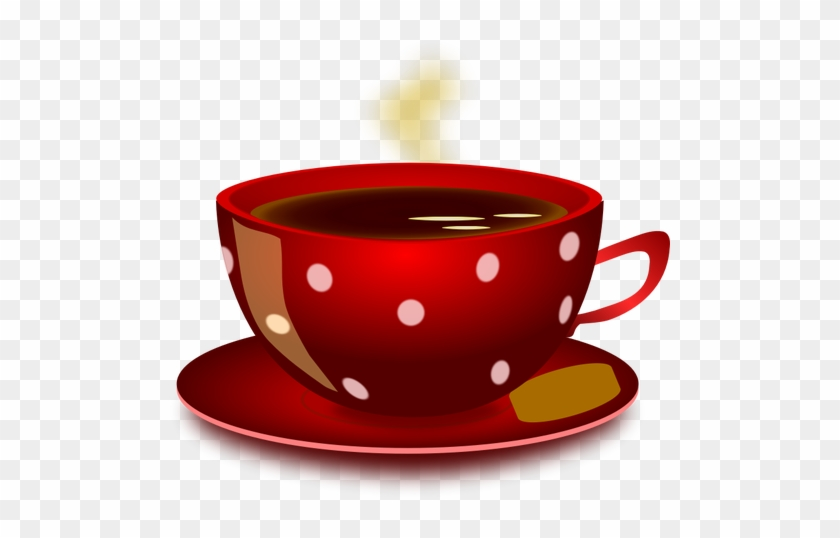 Red Spotty Tea Cup With Saucer And Cookie Vector Clip - Buenos Dias Jueves Gif #194966