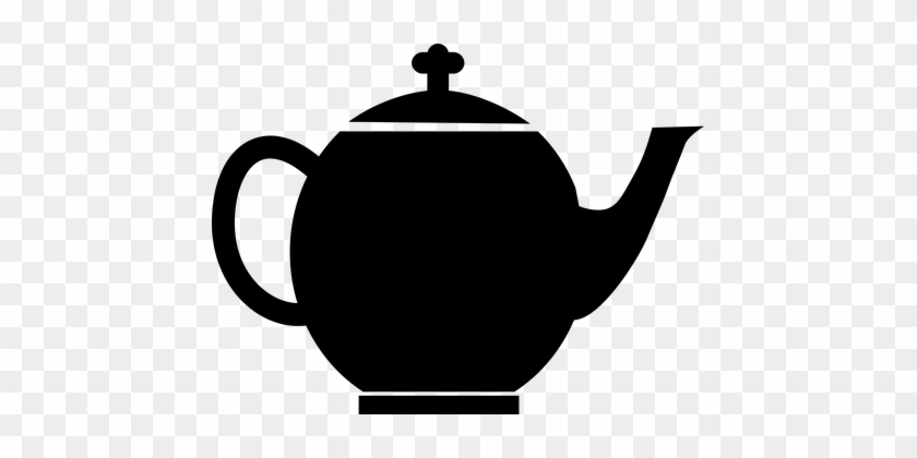Teapot Tea Black Pot Kettle Coffee Kitchen - Teapot Clip Art #194965