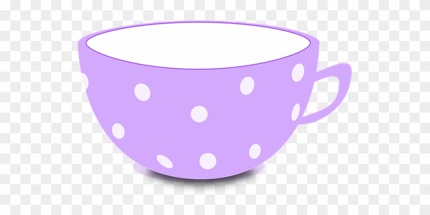 Cup Purple Tea Bowl Empty Dotted Cup Cup T - Cute Tea Cup Clipart #194970