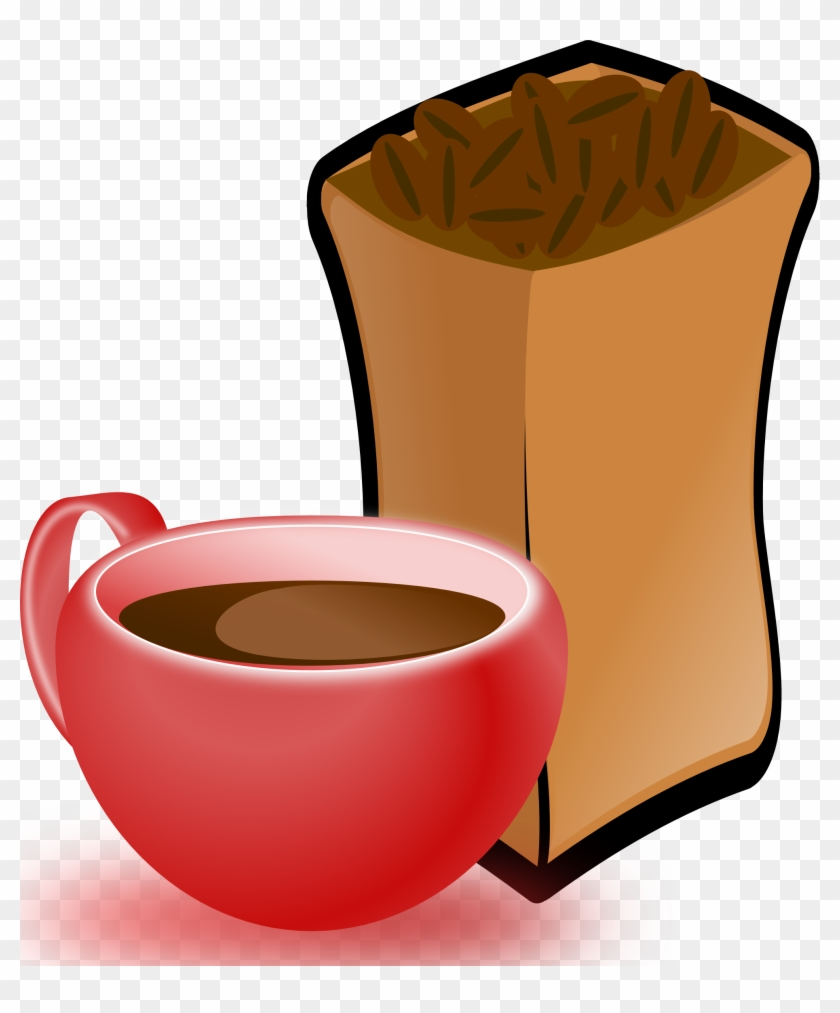 Cup Of Coffee With Sack Of Coffee Beans 4 555px - Coffee Beans Clip Art #194986
