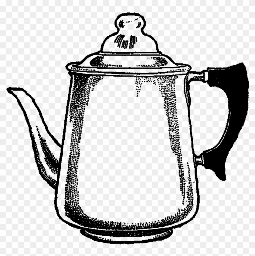 Coffee Pot Image Transfer Clipart Illustration Digital - Coffee Pot Drawing #195023