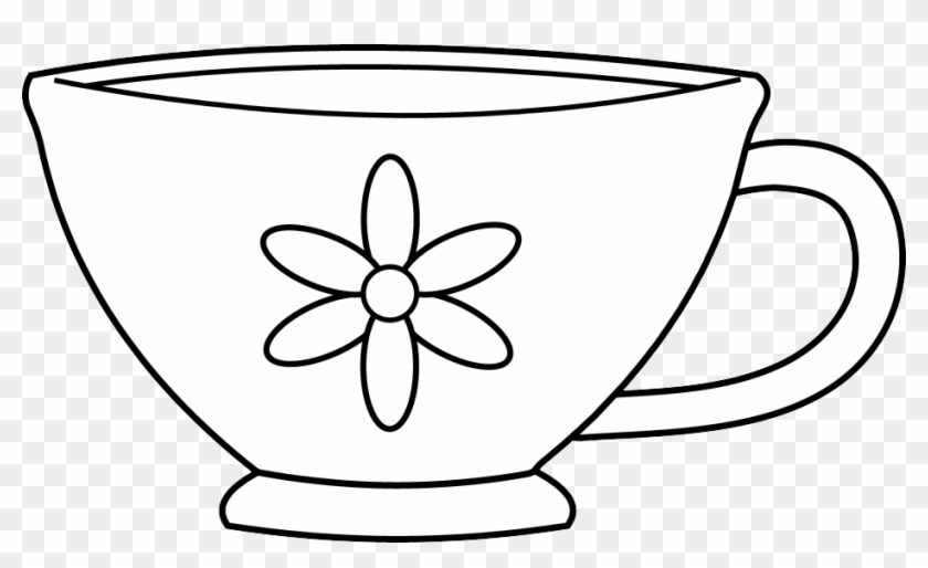 Free Tea Party Clip Art - Tea Cup Coloring Page #195206