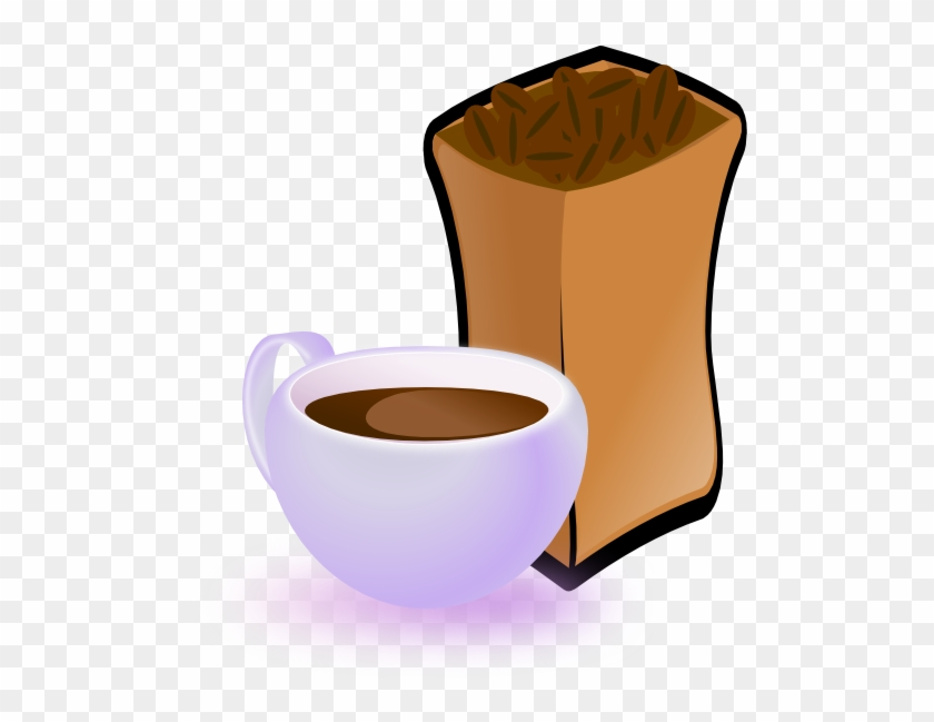 Cup Of Coffee With Sack Of Coffee Beans Clipart - Coffee Beans Clip Art #195222