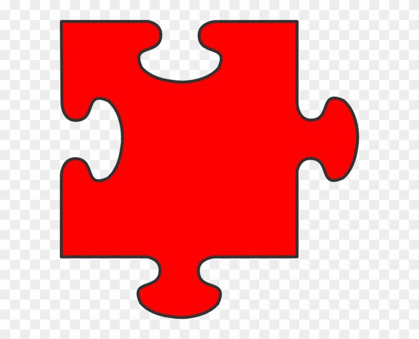 Red Puzzle Piece Top Clip Art - Puzzle Piece Clip Art #195261