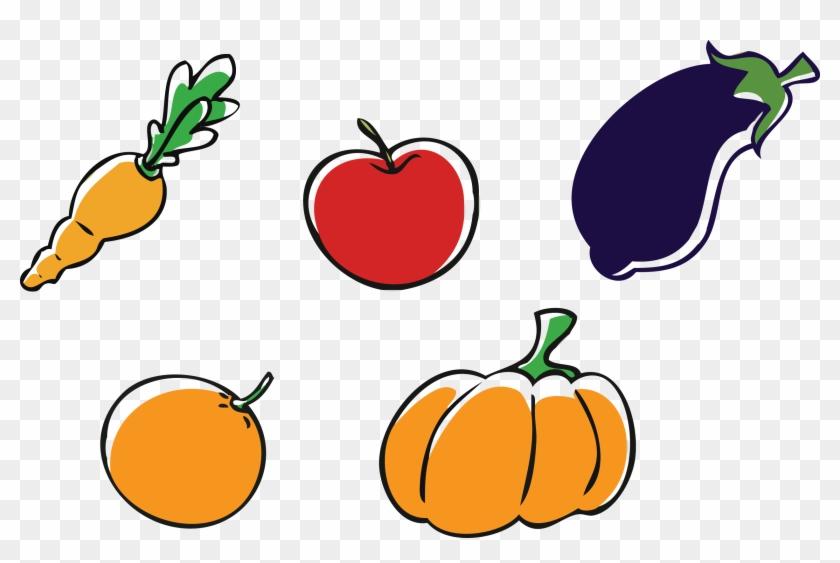 Apple Pumpkin Vegetable Clip Art - Dibujos De Frutas Y Verduras #195337