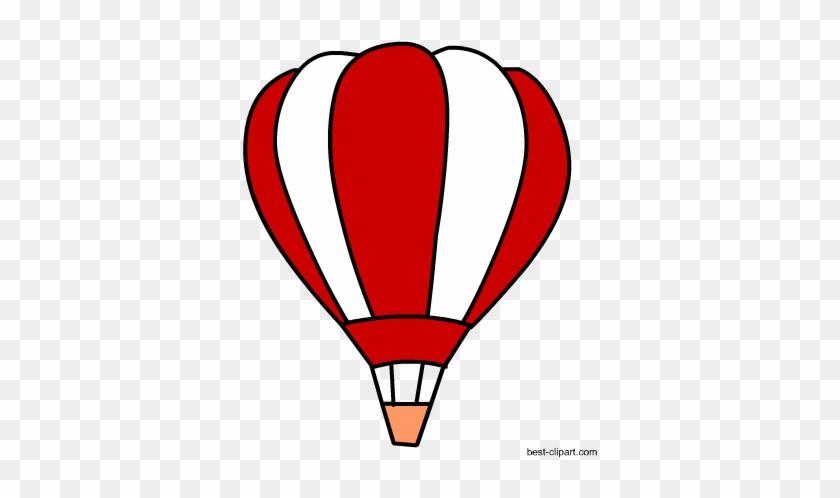 Free Red And White Hot Air Balloon Clip Art - Hot Air Balloon #195474
