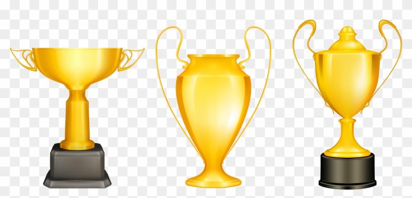 Transparent Gold Silver Bronze Trophies Png Clipart - Trophy Vector #195600
