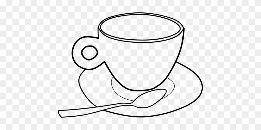 Coffee, Sticker, Outline, Clipart - Cup Outline Clipart #195808