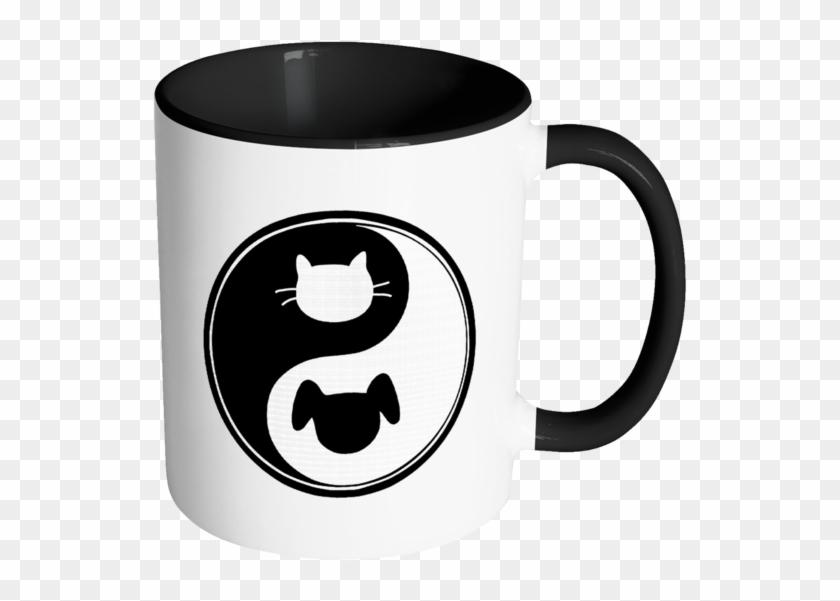 Yin Yang Color Accent Coffee Mug Choice Of Accent Color - Tafree Best Friend Yin Yang Cat Dog Tai Ji Pattern #195834