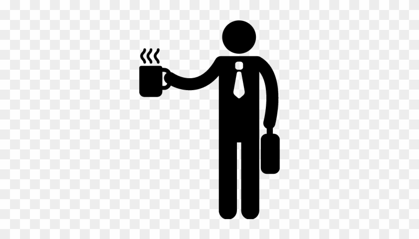 Office Worker Silhouette With Coffee Cup Vector - Person Drinking Coffee Icon #195855