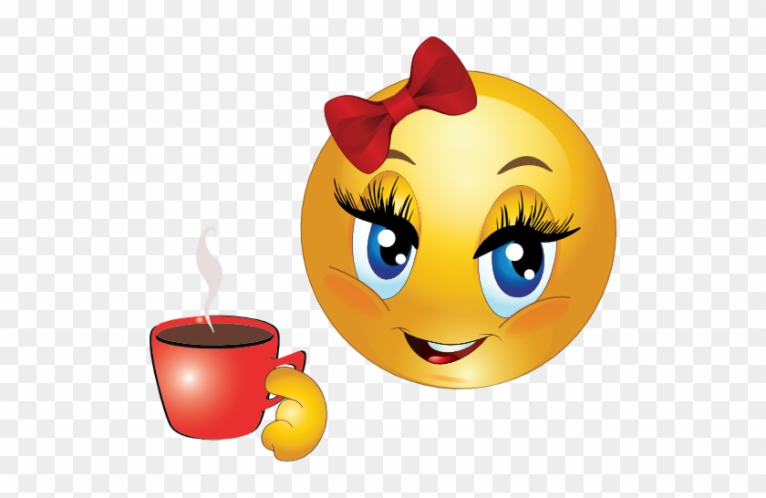 Girl Drink Tea Smiley Emoticon Clipart - Smiley Face Drinking Coffee #195938