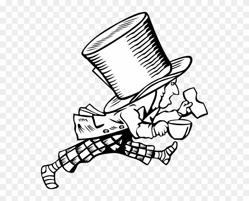 Mad Hatter Clip Art Free Vector / 4vector - Alice And Wonderland Clip Art Black And White #196210