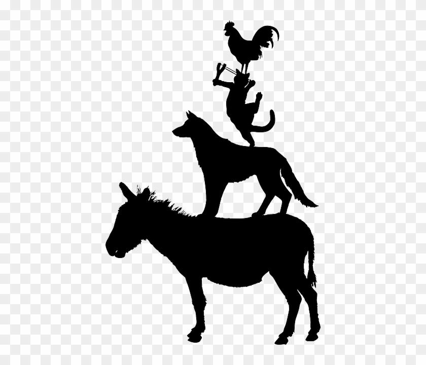 Dog, Donkey, Rooster, Bremen, Slingshot, Animal - Town Musicians Of Bremen Png #196273