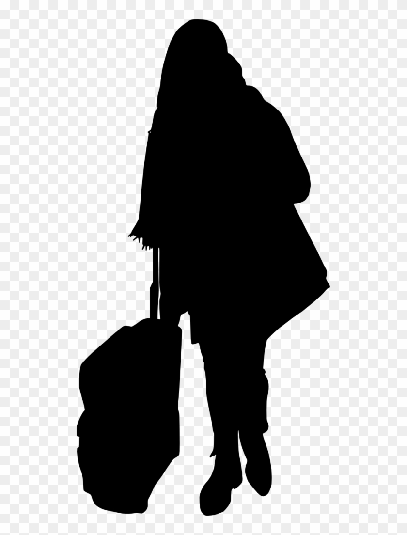 Free Png People With Luggage Silhouette Png Images - Silhouette Person With Luggage Png #196339