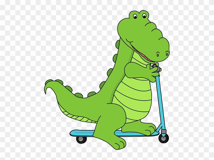 Alligator Riding A Scooter - Animals Going To School #196597