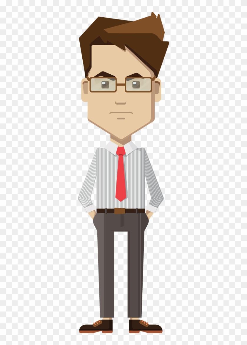Cartoon Businessman Standing And Unhappy - Business Man Standing Cartoon #1187810