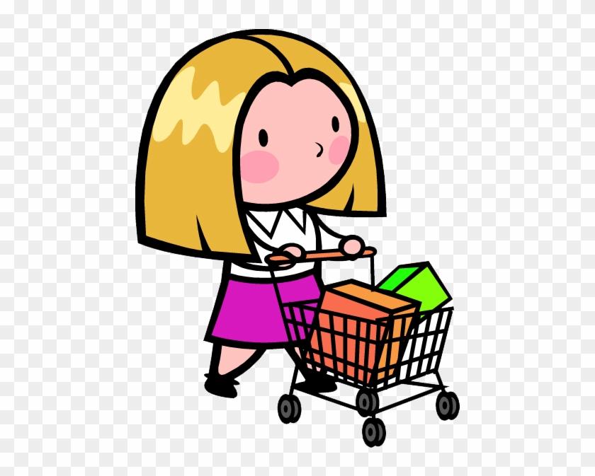Shopping Cart Cartoon Illustration - Pushing Shopping Cart Cartoon #1189020