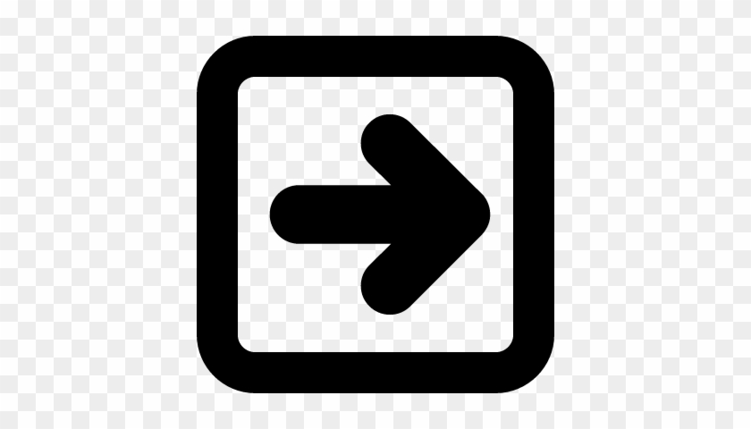 Right Arrow In Square Button Outline Vector Math Symbols Black And