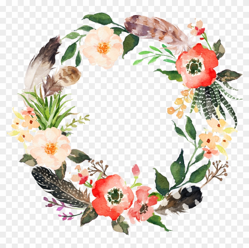 Flower Wreath Watercolor Painting Garland - Not Today Satan Floral #1192070