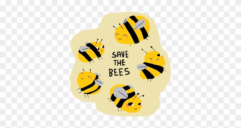 Illustration Art Cute Kawaii Grunge Pastel Bees Save - Save The Bees Cute #1192075