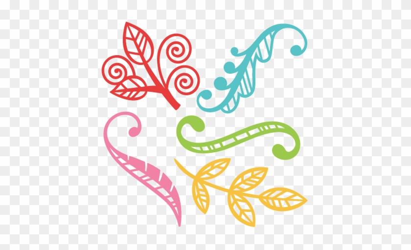 Flourish Leaf Set Svg Scrapbook Cut File Cute Clipart - Leaf Cut File #1193062