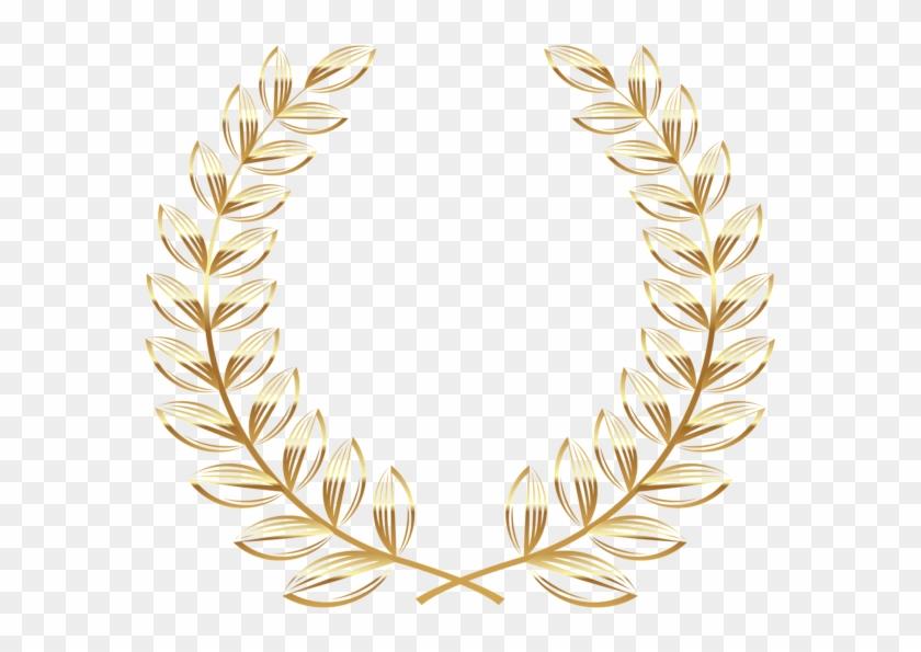 Instant Download Golden Frame Border Clipart Gold Digital - Gold Wreath Clip Art #1194012