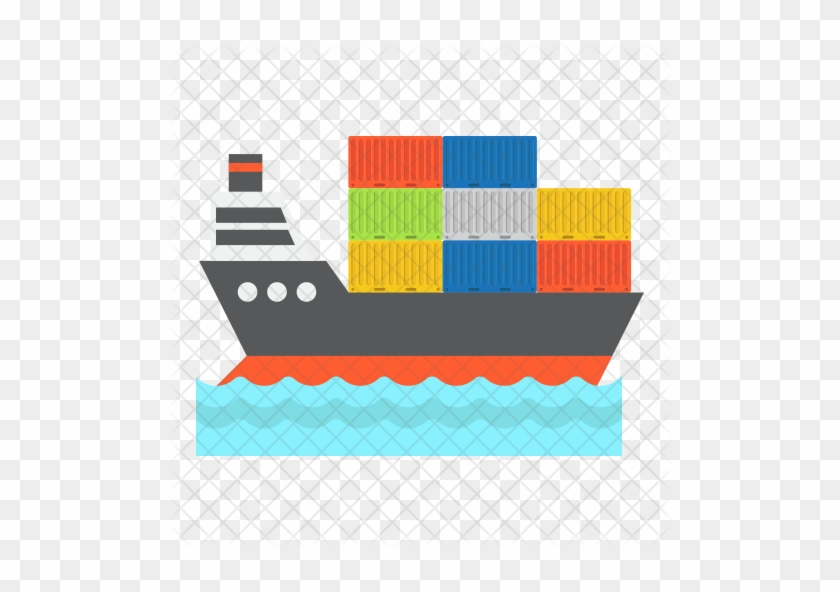 Cargo Ship Icon - Flat Icon No Background Cargo Vessels #1195060