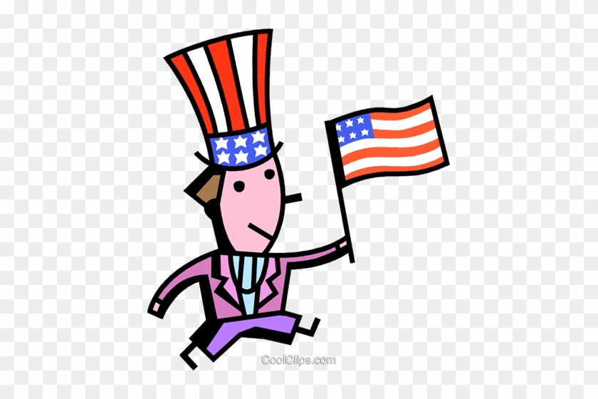 Uncle Sam With American Flag Royalty Free Vector Clip - Uncle Sam With American Flag Royalty Free Vector Clip #1195345
