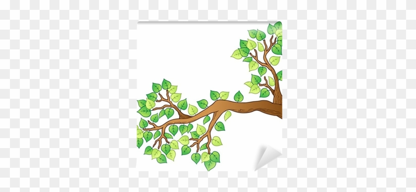 Cartoon Tree Branch With Leaves 1 Wall Mural • Pixers® - Cute Birds Flying Gif #1197389