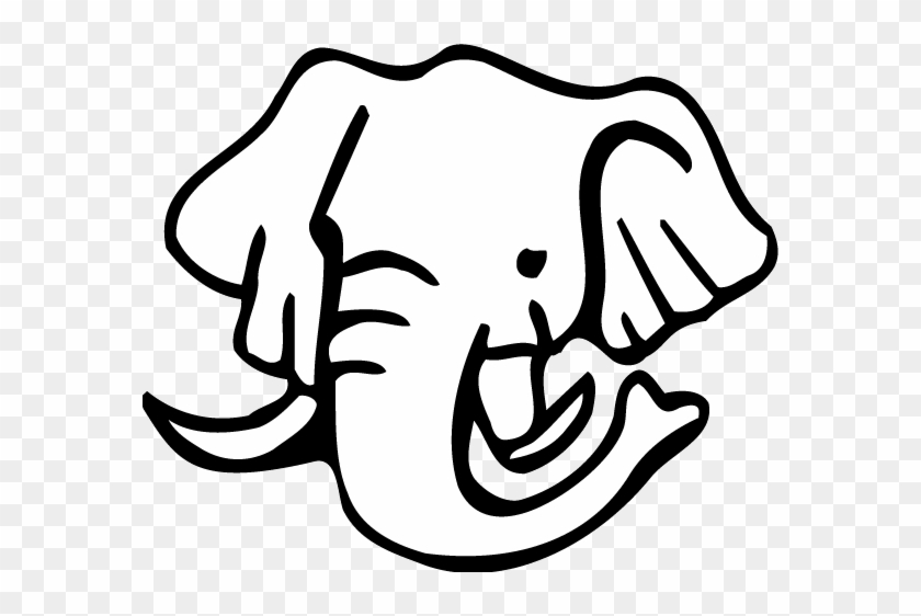 Coloring Pages Of Lose Up Of Elephant Face For Kids - Elephant Face Clipart Black And White #1198981