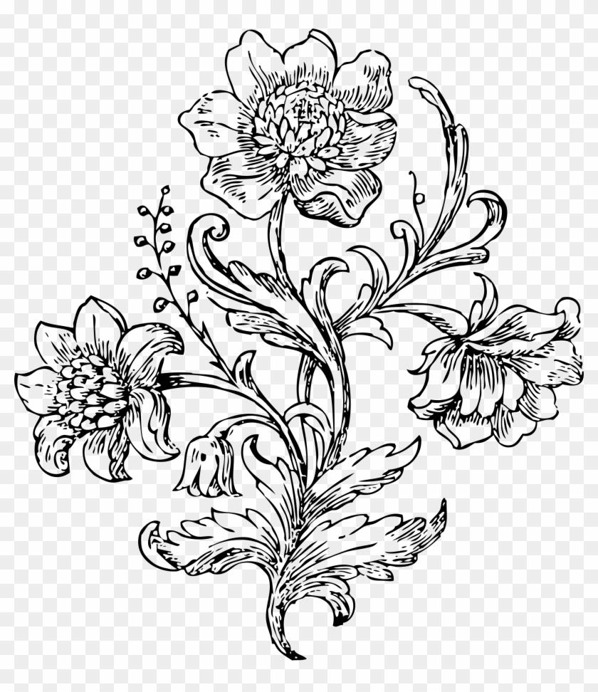 Floral Design White Flower Clip Art Art Bunga Hitam Putih Free