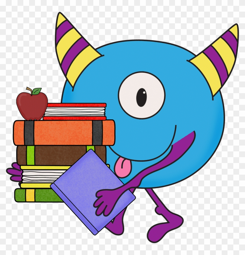 Image Result For Free Clipart Monster Reading - De Monster Go To School Book #1201391