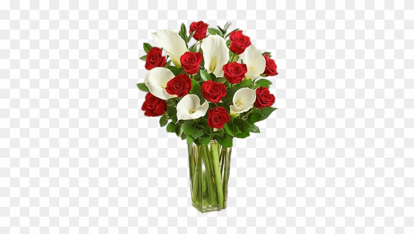 Red Roses And White Calla Lillies Bouquet - Calla Lily Valentines Bouquet #1204647