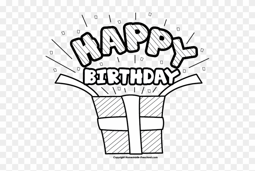 Stunning Idea Happy Birthday Clipart Black And White Birthday Present Black And White Free Transparent Png Clipart Images Download