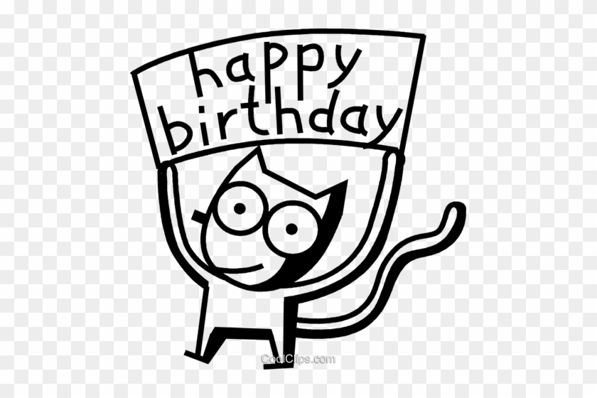 Happy Birthday Cat Royalty Free Vector Clip Art Illustration Happy