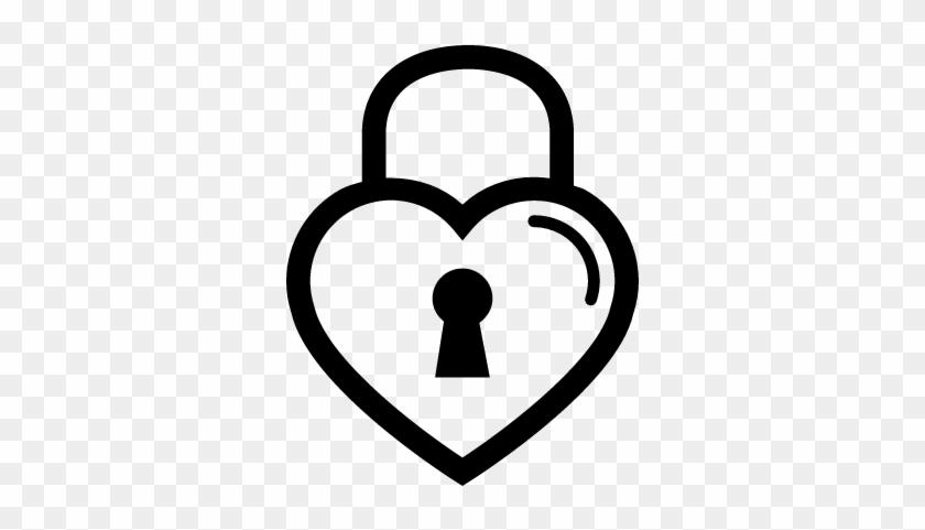 Heart Shaped Lock Outline Vector - Black And White Heart Lock #1206569