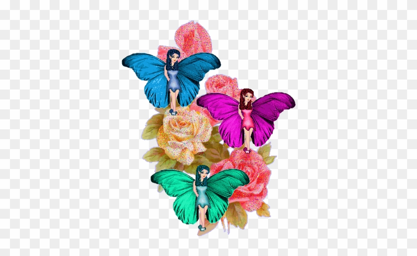Butterflies Images Butterfly Fairies And Roses Wallpaper - Fairy Rose Animated Gif #1207670