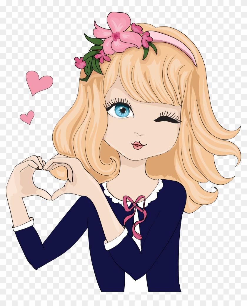 Cartoon Gesture Illustration Beautiful Cartoon Girl Image Png