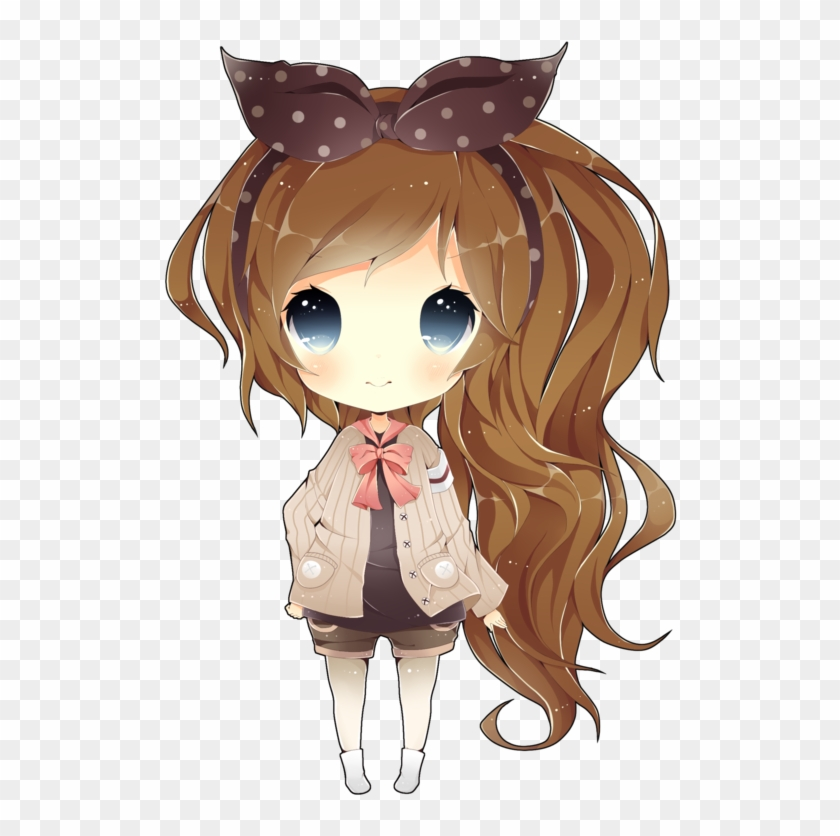 Anime Chibi Girl With Brown Hair And Blue Eyes For - Chibi Girl With Brown Hair #1209639