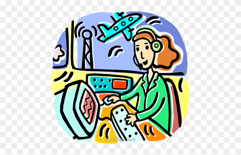 Vector Illustration Of Air Traffic Controller Maintains - Air Traffic  Controller Cartoon , Free Transparent Clipart - ClipartKey