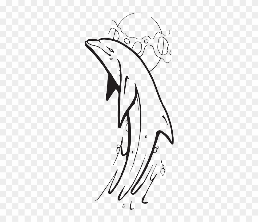 Water, Outline, Out, Dolphin, Show, Jumping - Dolphan Jumping Out Water Drawing #1214753