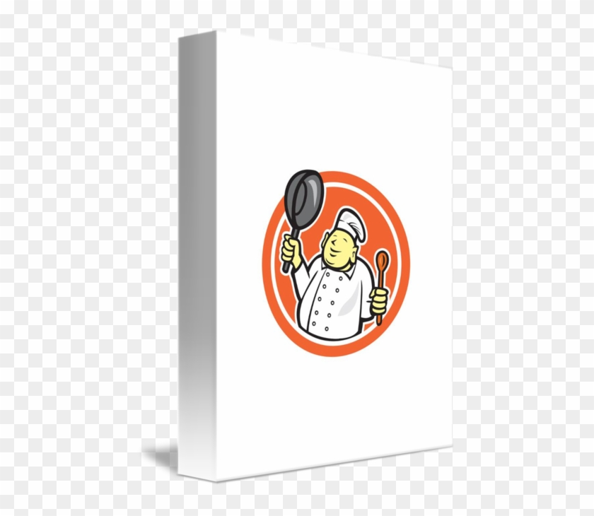 Share On Tumblr - Fat Buddha Chef Cook Holding Pan Circle Cartoon Card #1216111