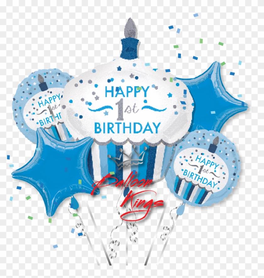 1st Birthday Boy Cupcake Bouquet - Happy 1st Birthday Boy #1218853