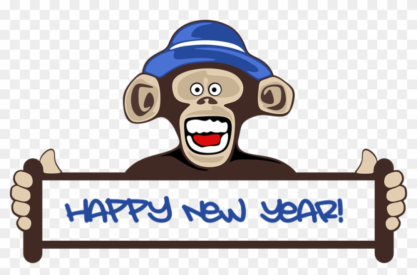 Hanging Monkey Clipart 24, Buy Clip Art - Funny Happy New Year 2018 #1219195