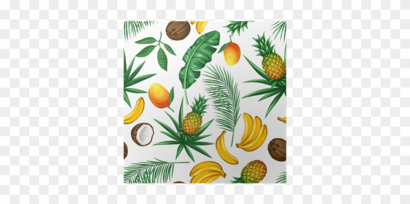 Seamless Pattern With Tropical Fruits And Leaves - Fruits And Leaves Background #1219651