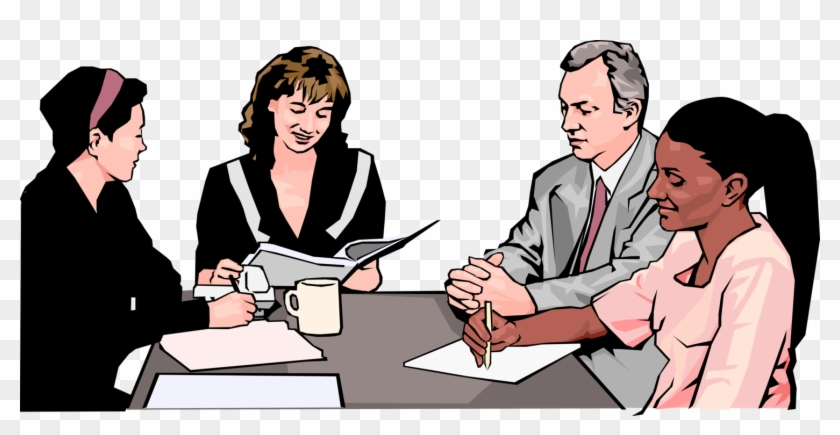 Vector Illustration Of Businesswoman In Business Meeting - Office Meeting Clipart #1220159