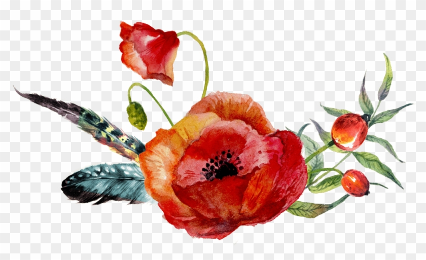 Consider Renewed Joy Your Guide-book To The Source - Red Poppy Watercolor Hand Painted Vector Free #1220335