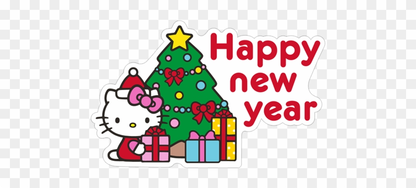 sticker 11 from collection hello kitty winter holiday happy new year 2018 wishes